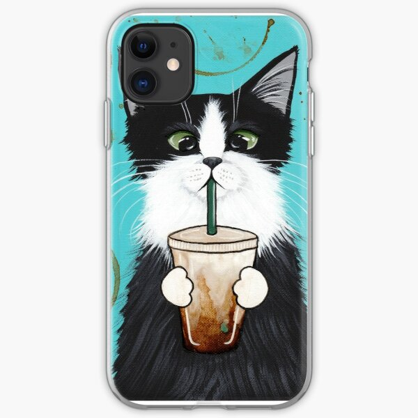 Tuxedo Cat with Iced Coffee iPhone Soft Case