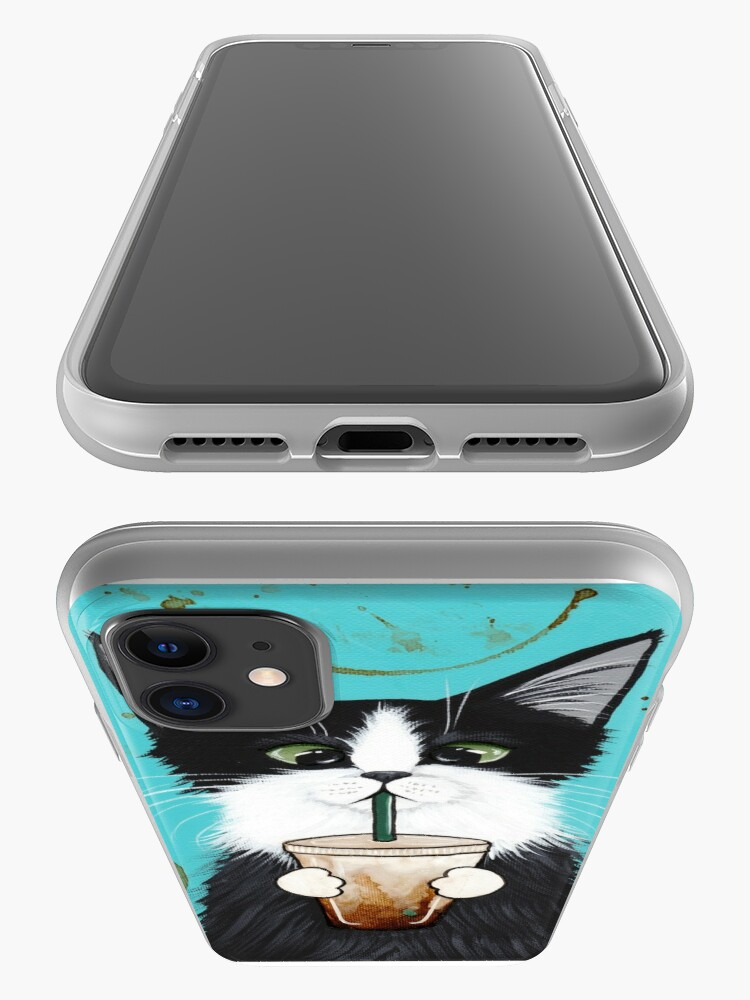Alternate view of Tuxedo Cat with Iced Coffee iPhone Case & Cover