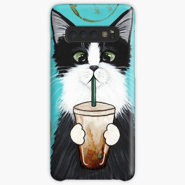 Gato de esmoquin con café helado Funda rígida para Samsung Galaxy