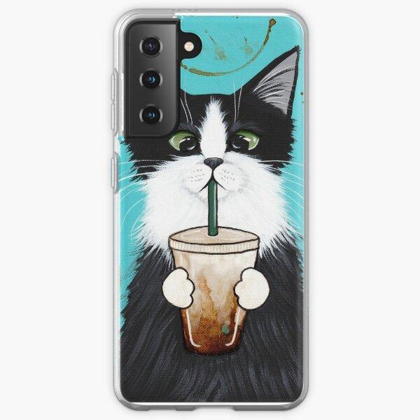 Tuxedo Cat with Iced Coffee Samsung Galaxy Soft Case