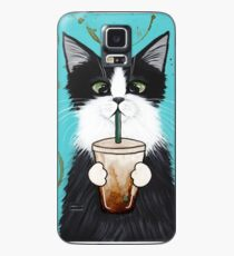 Tuxedo Cat with Iced Coffee Case/Skin for Samsung Galaxy