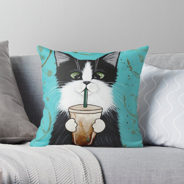 Tuxedo Cat with Iced Coffee Throw Pillow