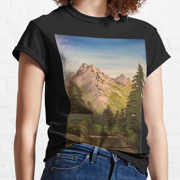 Original Bob Ross inspired oil painted beautiful serene mountain and nature landscape  Classic T-Shirt