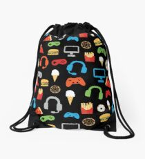 Video Game Party Snacks Pattern Drawstring Bag