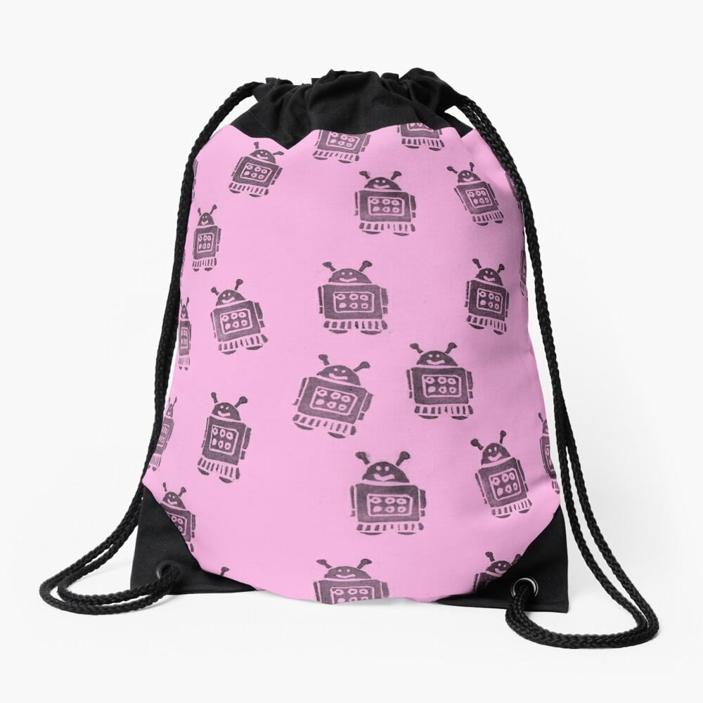 Pink Robots Drawstring Bag