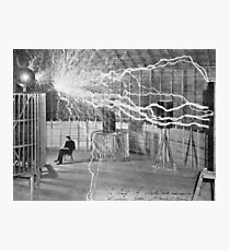 Tesla and His Coils Photographic Print