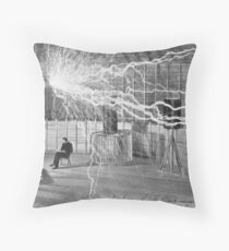 Tesla and His Coils Throw Pillow