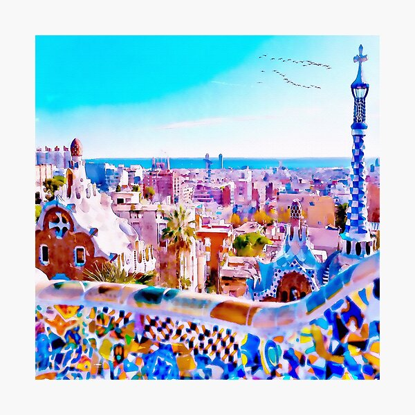 Park Guell Watercolor painting Photographic Print