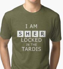Sherlocked in the Tardis Slate Tri-blend T-Shirt
