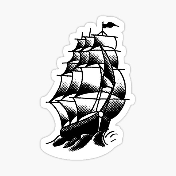 Traditional Ship Tattoo Design Sticker