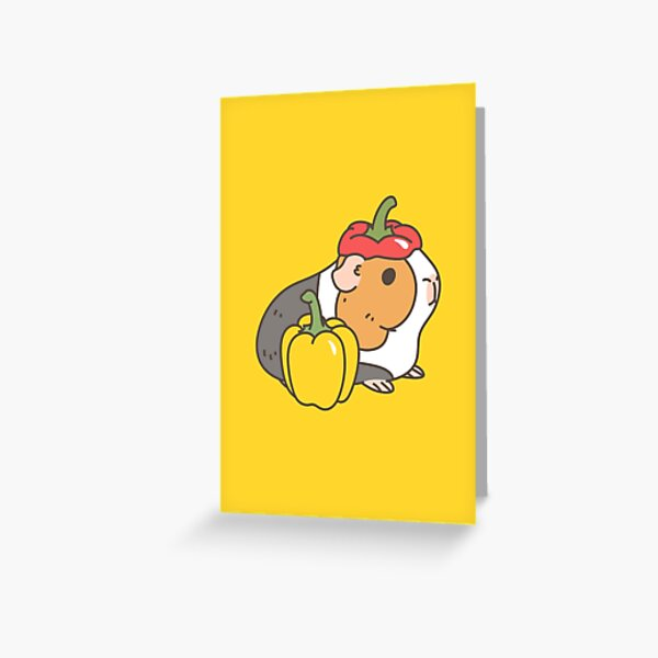 Bell pepper, cherry tomatoes and Guinea pigs pattern  Greeting Card