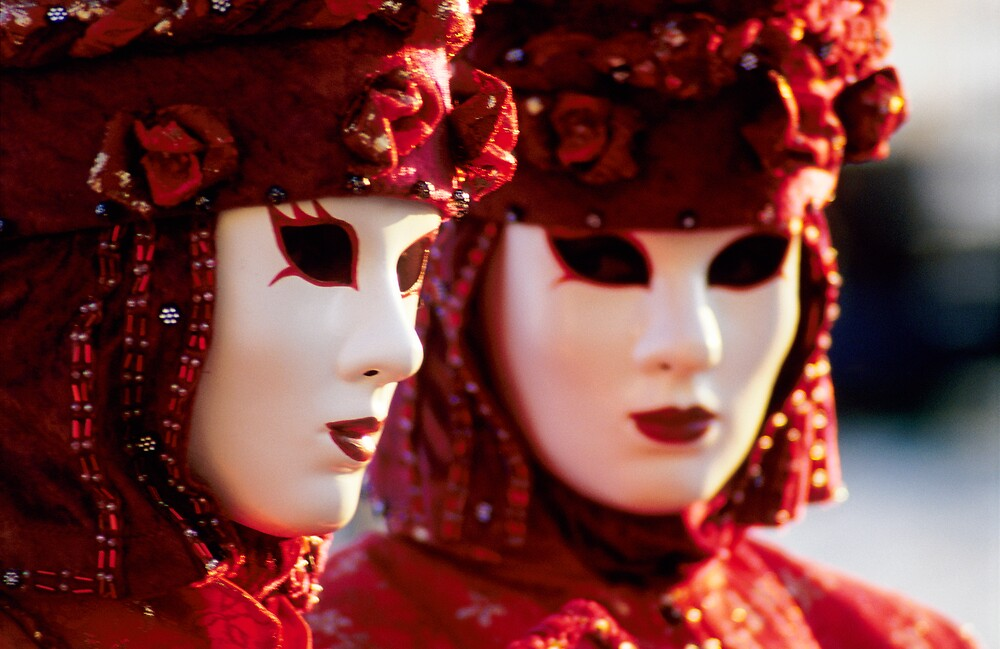 Two Red Carnival Masks, Venice (Italy)  by Petr Svarc