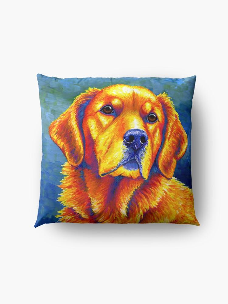 Alternate view of Faithful Friend - Colorful Golden Retriever Dog Floor Pillow