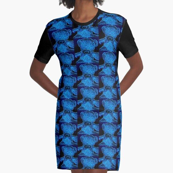 Blue Neon Bear Graphic T-Shirt Dress