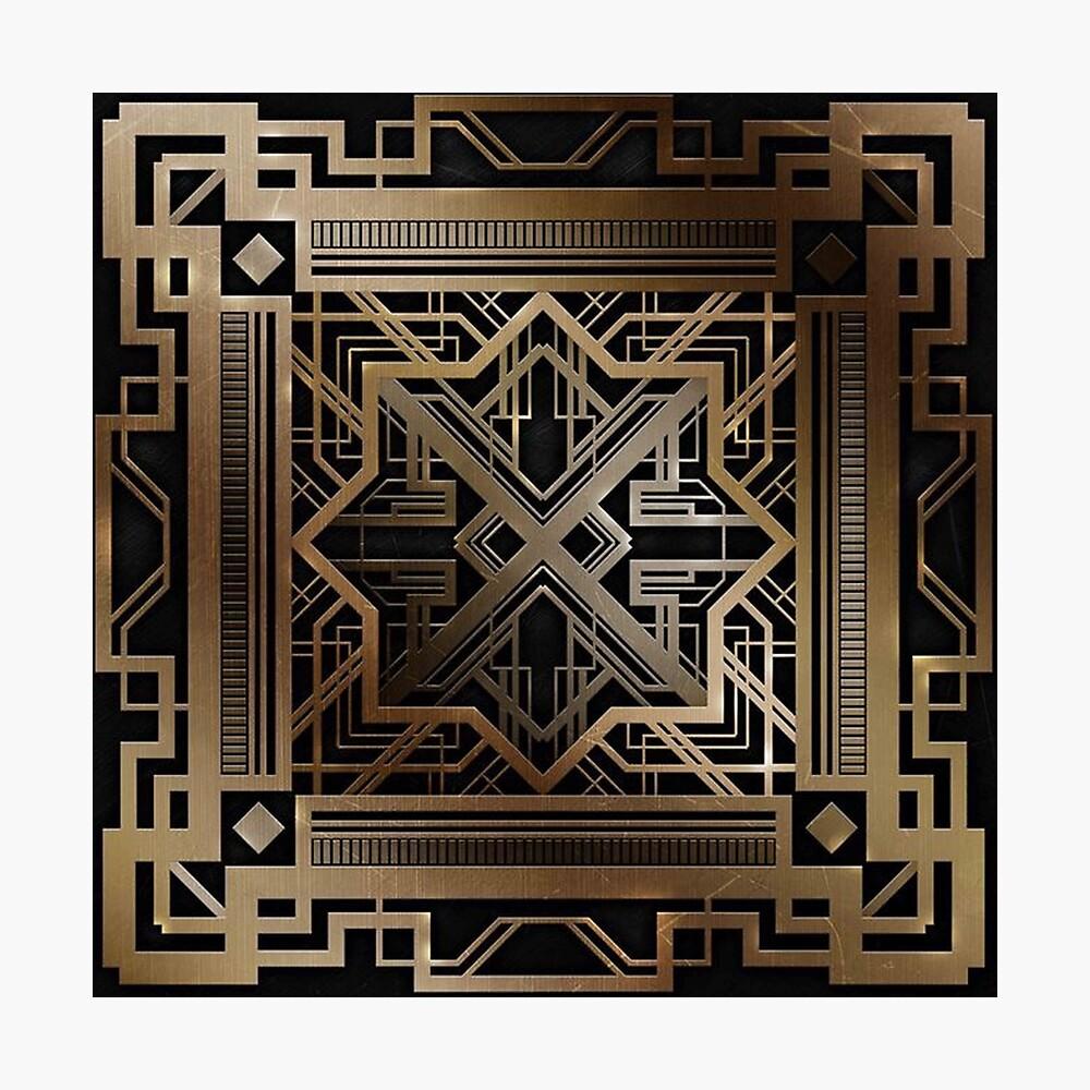 Art Deco, Gold, Schwarzes, Vintag, Chic, elegant, Ära 1920, der große Gatsby, modern, modisch, dekorativ Fotodruck