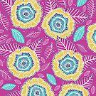 Purple Florals  by Rose Halsey