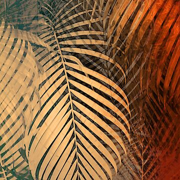 TROPICAL BEIGE ORANGE LEAVES PATTERN by aCVPia