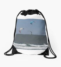 Kitesurfing in the Ocean - Three kites in the distance Drawstring Bag