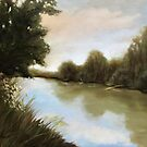 The Olentangy River - local river landscape oil painting by LindaAppleArt