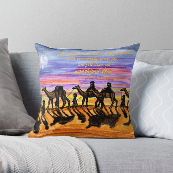 Wise Men Christmas Image - With Matthew 2:10,11 Bible Verses Throw Pillow