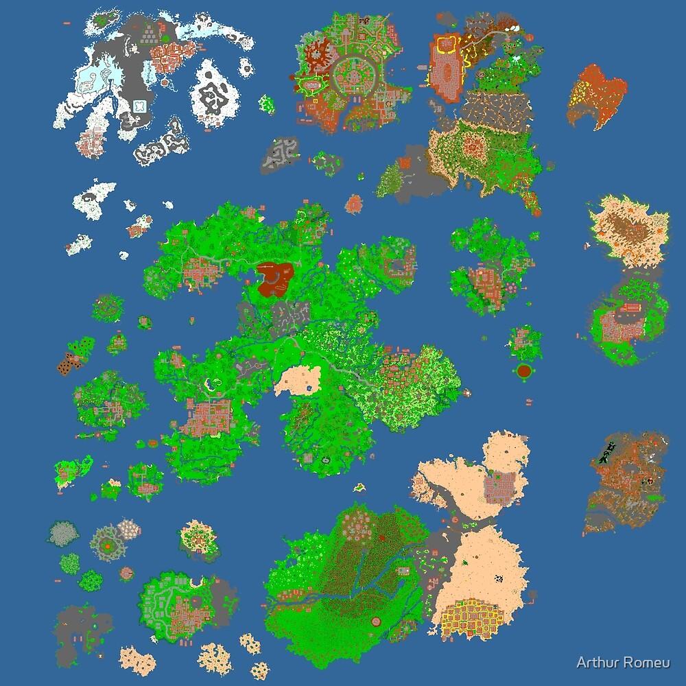 Tibia World Map.Tibia World Map By Arthur Romeu Redbubble