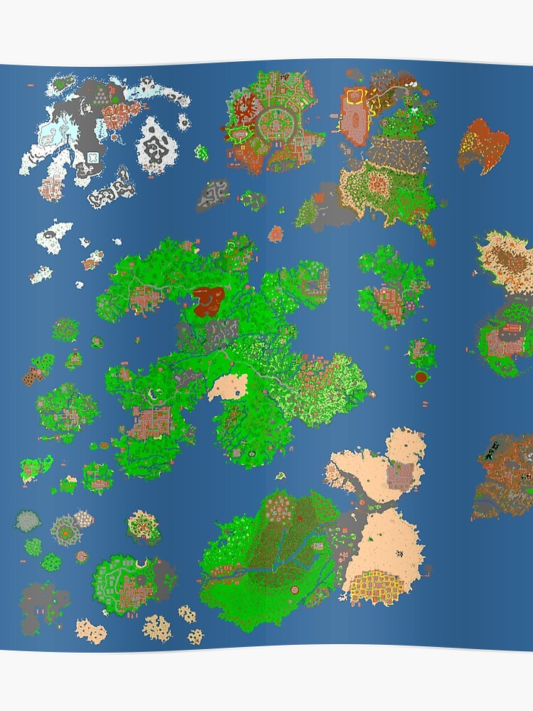A Picture Of The World Map.Tibia World Map Poster