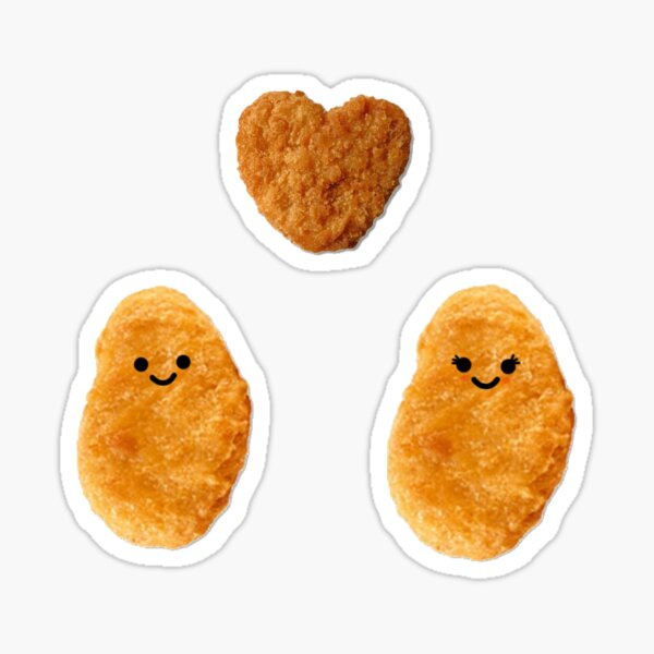 Couple of Chicken Nuggets with Heart Nugget Sticker Set (with other items) Sticker
