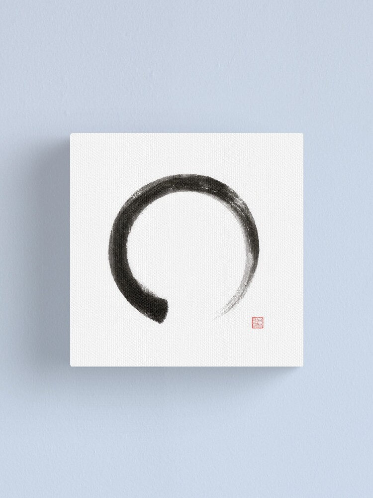 Alternate view of Enso circle Japanese Zen Sumi-e painting on white rice paper art print Canvas Print