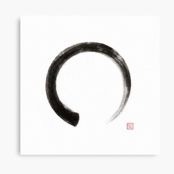 Enso circle Japanese Zen Sumi-e painting on white rice paper art print Canvas Print