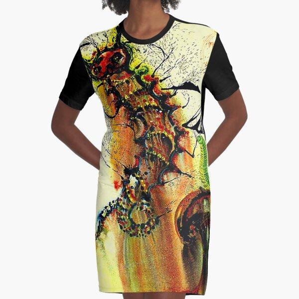 ALICE IN WONDERLAND : Vintage 1969 Caterpillar Dali Print Graphic T-Shirt Dress