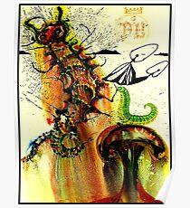 ALICE IM WUNDERLAND: Vintage Caterpillar Dali-Druck 1969 Poster