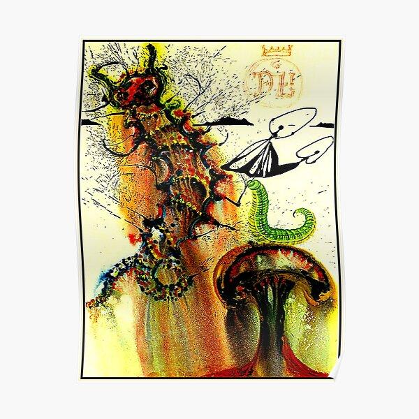 ALICE IN WONDERLAND : Vintage 1969 Caterpillar Dali Print Poster