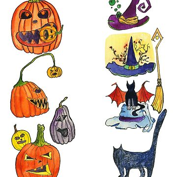 Watercolor illustrations. Halloween. Various Jack-o-lanterns, hats of witches, cats. Carved pumpkins.  by rusmashart