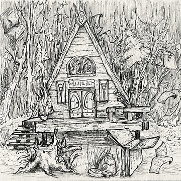 Pen drawing. Magic house, or cabin, in the woods, books flying around by rusmashart
