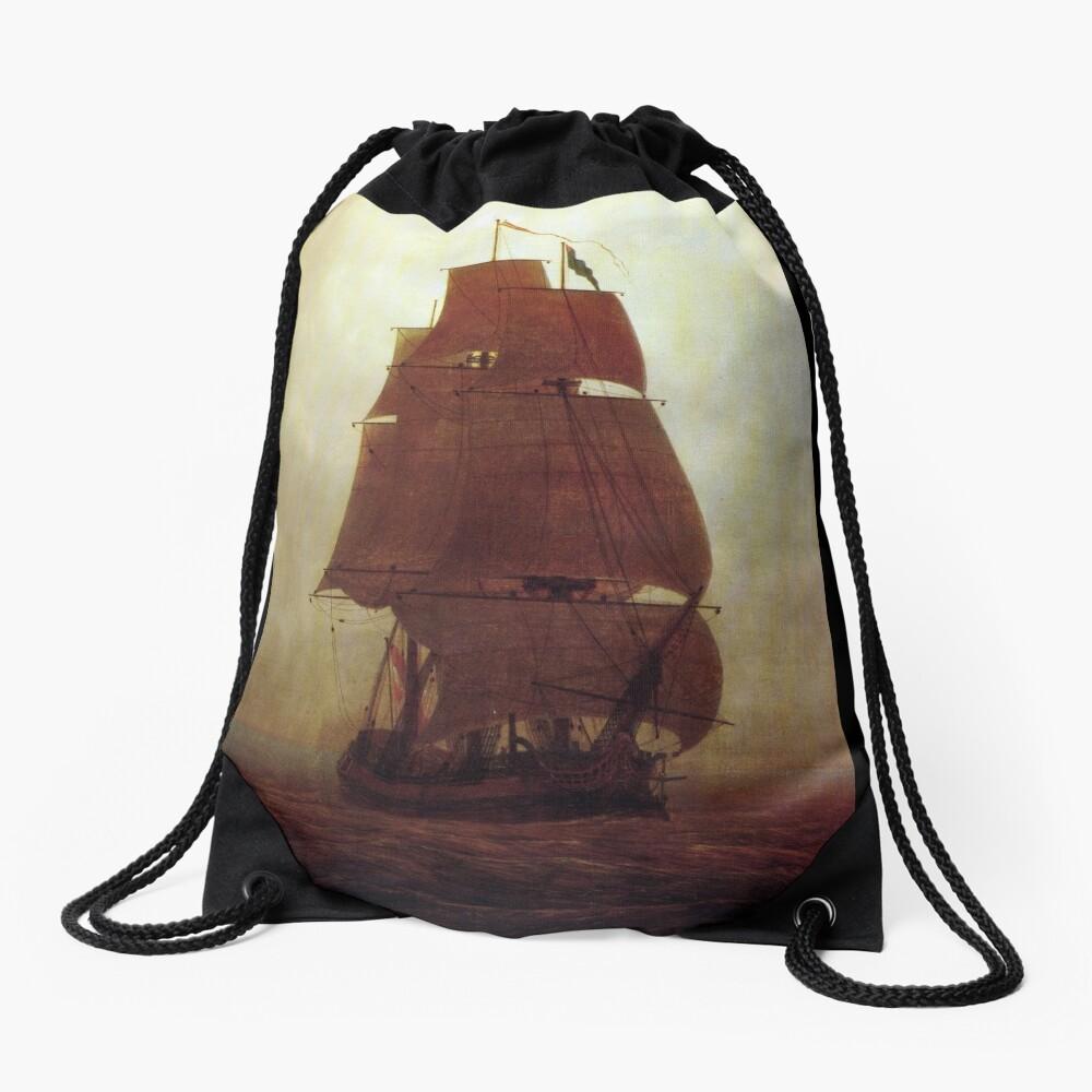 Sailing Ship (Caspar David Friedrich) Drawstring Bag
