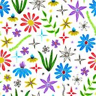 super bright and colorful floral pattern with sketched details by Stacey Oldham