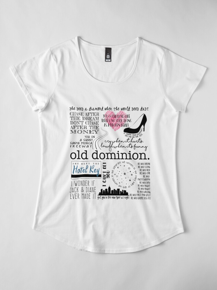 Alternate view of Old Dominion Lyrics Premium Scoop T-Shirt