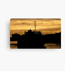 Golden Sky For Ferry Canvas Print