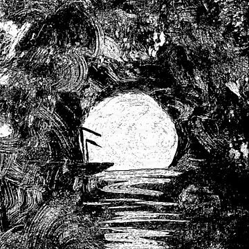 Moon in a Tropical Keyhole Black and White Abstract by rtaylor111