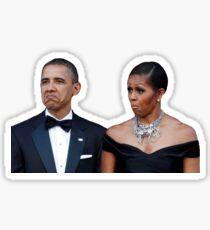 Barack and Michelle Obama Funny Faces Sticker