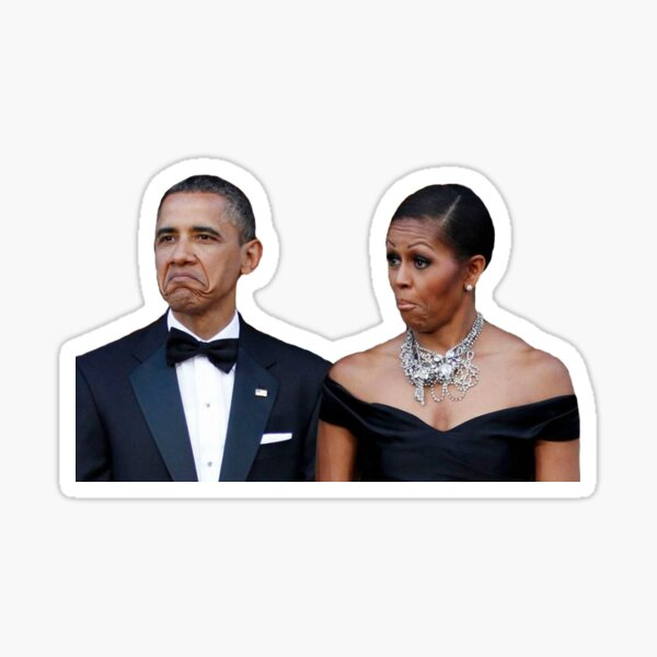 Barack and Michelle Obama Funny Faces Sticker