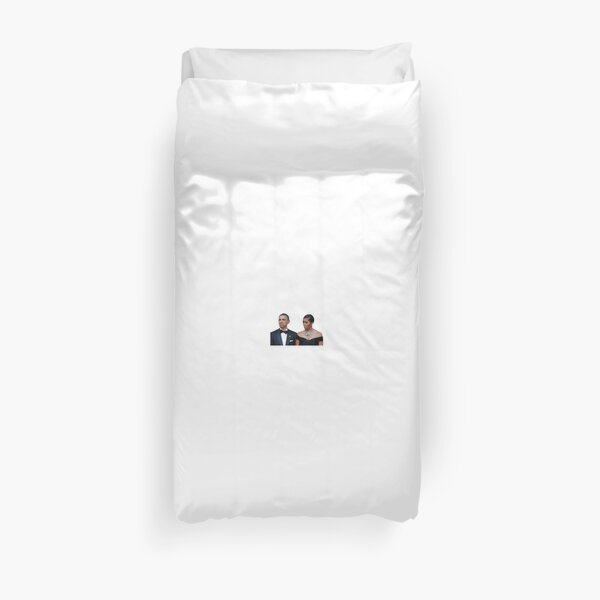 Barack and Michelle Obama Funny Faces Duvet Cover