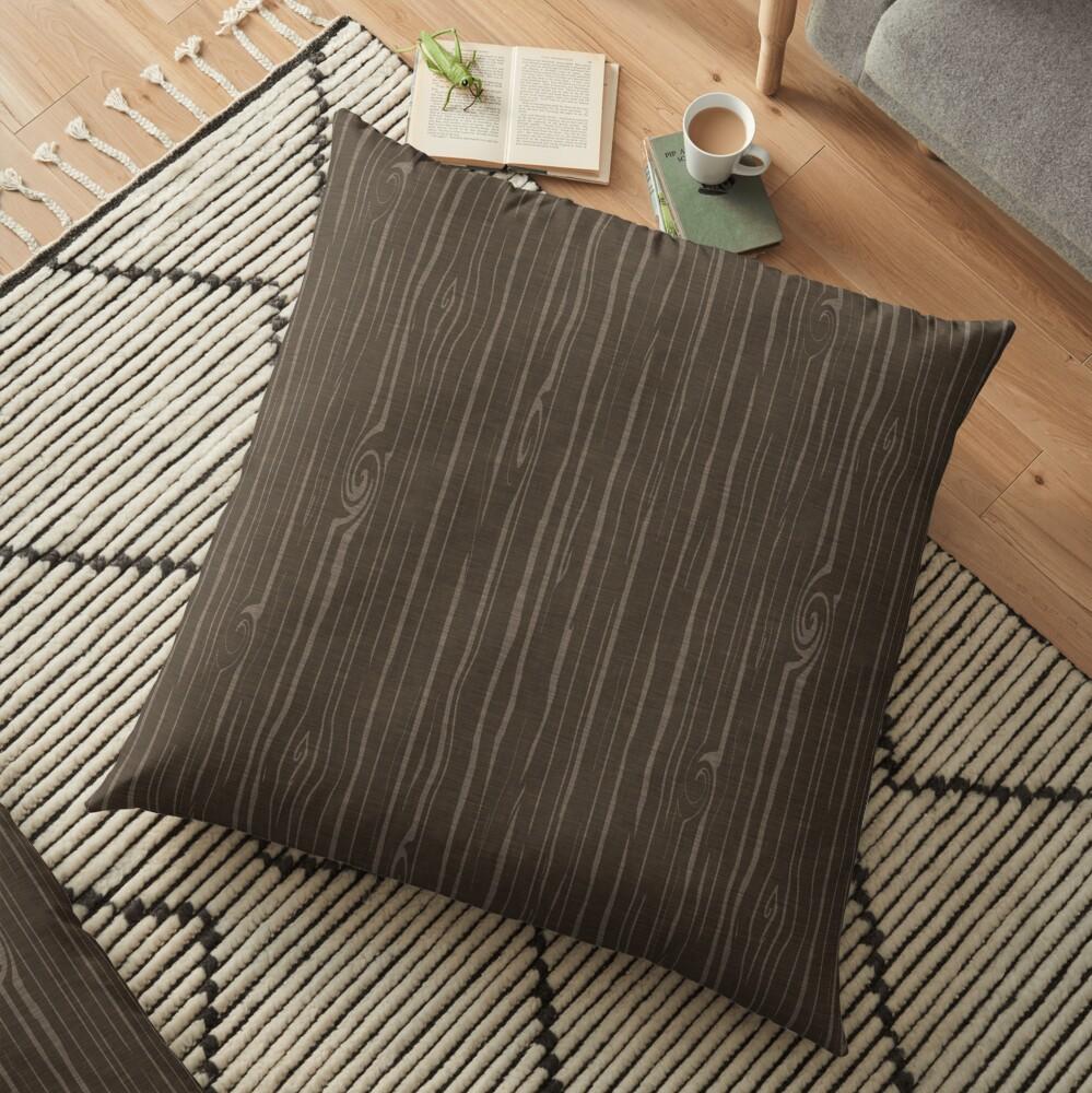Weathered Woodgrain - Dark Brown Floor Pillow