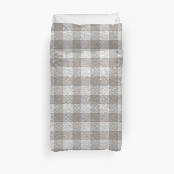 Beige and Grey Textured Buffalo Plaid Duvet Cover