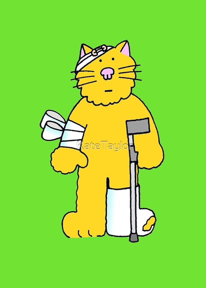 Get Well, cartoon ginger cat on a crutch. by KateTaylor