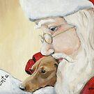 Dachshund and Santa Christmas by Charlotte Yealey