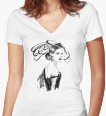 Fashion woman Women's Fitted V-Neck T-Shirt