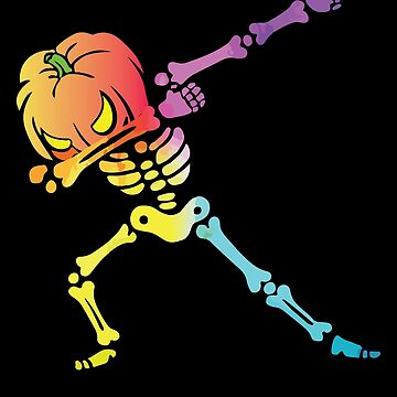 Halloween Cool Dabbing Skeleton Colorful Holiday Design by TaymooHbaish