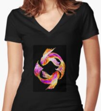 Night 'Tails' - Koi Fitted V-Neck T-Shirt