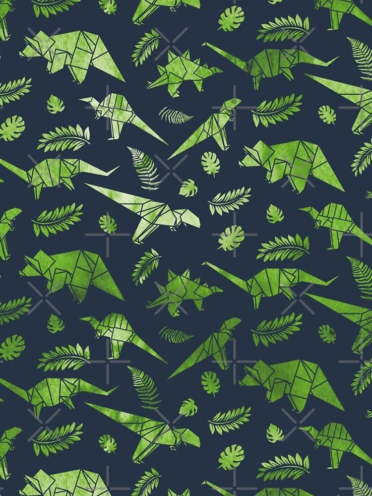 Patrón de dinosaurios de origami de toshycreative